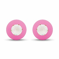 Gold Plated Pink Stone Studded Fashion Peekaboo Earrings