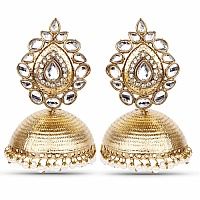 Traditional Ethnic Gold Plated Polki Jhumki Earrings for Wom
