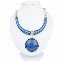 Gold Plated Matinee Style Blue Boomerang Fashion Statement N