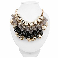 Gold Plated Grey Choker Trendy Fashion Necklace
