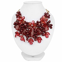 Gold Plated Princess Style Maroon Floral Shape Fashion Neckl