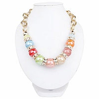 Gold Plated Matinee Style Multicolour Fashion Statement Neck