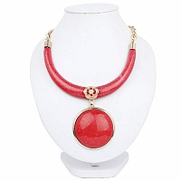 Gold Plated Princess Style Red Boomerang Fashion Statement N