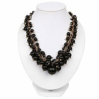 Gold Plated Matinee Style Fashion Necklace Adorned With Blac