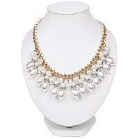 Gold Plated Matinee Style White Pearl Studded Fashion Neckla