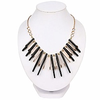 Gold Plated Matinee Style Black Fashion Statement Necklace