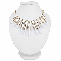 Gold Plated Princess Style White Fashion Statement Necklace