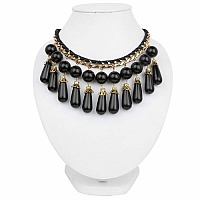 Gold Plated Princess Style Fashion Necklace Adorned with Bla