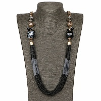 Gold Plated Black Beaded Multi layered Fashion Necklace