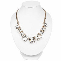 Gold Plated Matinee Style Fashion Statement Necklace Adorned