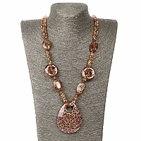 Brown Beaded Drop Style Trendy Fashion Necklace