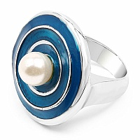 White Synthetic Pearl Blue Enamel Solitaire Ring