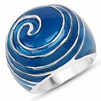 Plain Metal Blue Enamel Ring