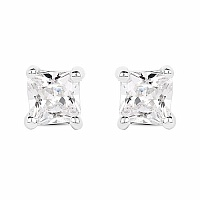 White Cubic Zirconia .925 Sterling Silver Square Shape Earri