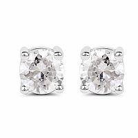 White Cubic Zirconia .925 Sterling Silver Round Shape Earrin