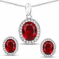 Red Cubic Zirconia & White Cubic Zirconia .925 Sterling Silv