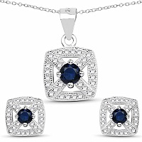 Blue Cubic Zirconia & White Cubic Zirconia .925 Sterling Sil