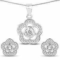 White Cubic Zirconia .925 Sterling Silver Floral Shape Pendant