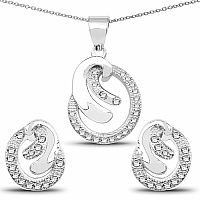 White Cubic Zirconia .925 Sterling Silver Pendant Set