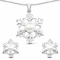 White Synthetic Pearl & White Cubic Zirconia .925 Sterling Silv