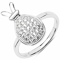2.10 Grams White Cubic Zirconia .925 Sterling Silver Ring