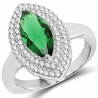 Green Cubic Zirconia & White Cubic Zirconia .925 Sterling Si