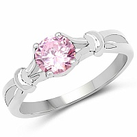 Pink Cubic Zirconia .925 Sterling Silver Solitaire Ring