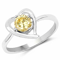 Yellow Cubic Zirconia .925 Sterling Silver Heart Shape Solit