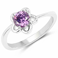 Purple Cubic Zirconia .925 Sterling Silver Floral Shape Soli