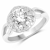White Cubic Zirconia .925 Sterling Silver Floral Shape Solit
