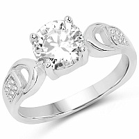 White Cubic Zirconia .925 Sterling Silver Solitaire Ring