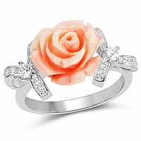 Rhodium Plated Cubic Zirconia 925 Sterling Silver Pink Rose