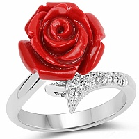 Rhodium Plated Cubic Zirconia 925 Sterling Silver Red Rose C