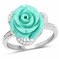 Rhodium Plated Cubic Zirconia 925 Sterling Silver Green Rose