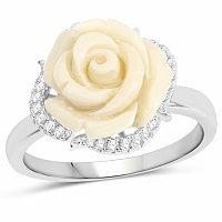 Rhodium Plated Cubic Zirconia 925 Sterling Silver White Rose