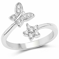 White Cubic Zirconia .925 Sterling Silver Floral Shape Ring