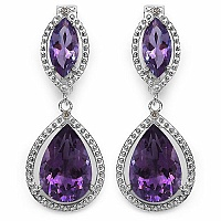13.69CTW Genuine Amethyst & White Diamond .925 Sterling Silver