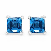 1.66CTW 5.00mm Square Shape Genuine Swiss Blue Topaz .925 Sterl