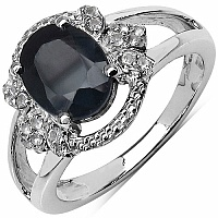 2.87CTW Genuine Blue Sapphire & White Topaz .925 Sterling Silve