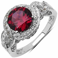 2.89CTW Genuine Rhodolite & White Topaz .925 Sterling Silver So