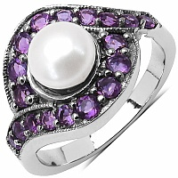 2.80CTW Genuine Pearl & Amethyst .925 Sterling Silver Ring
