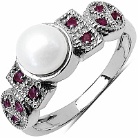 1.46CTW Genuine Pearl & Ruby .925 Sterling Silver Ring