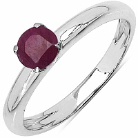 0.52CTW Genuine Ruby .925 Sterling Silver Solitaire Ring