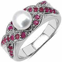 2.65CTW Genuine Ruby & Pearl .925 Sterling Silver Ring