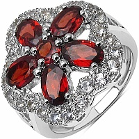3.43CTW Genuine Garnet & White Topaz .925 Sterling Silver Ring