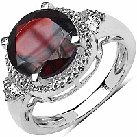 4.01CTW Genuine Garnet .925 Sterling Silver Solitaire Ring