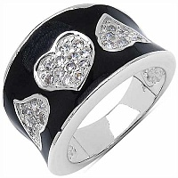9.90 Grams White Cubic Zircon Black Enamel .925 Sterling Silver