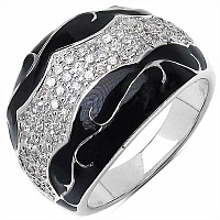9.50 Grams White Cubic Zircon Black Enamel .925 Sterling Sil