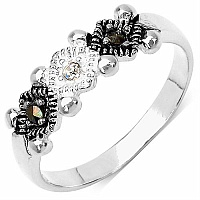 1.80 Grams Marcasite & White Cubic Zircon .925 Sterling Silver