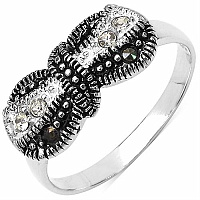 2.10 Grams Marcasite & White Cubic Zircon .925 Sterling Silver